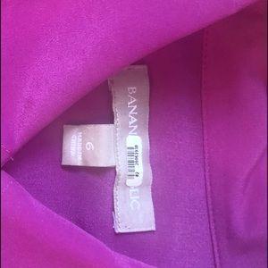 Pink Fuschia silky Front-tie button Blouse sz 6